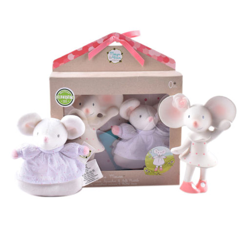 Tikiri Toys Meiya the Mouse all rubber squeaker toy with soft head