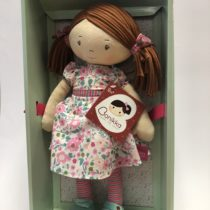 Tikiri Toys Katy – Dk Brown hair/pink & sea green dress WITH LRG SHOE BOX