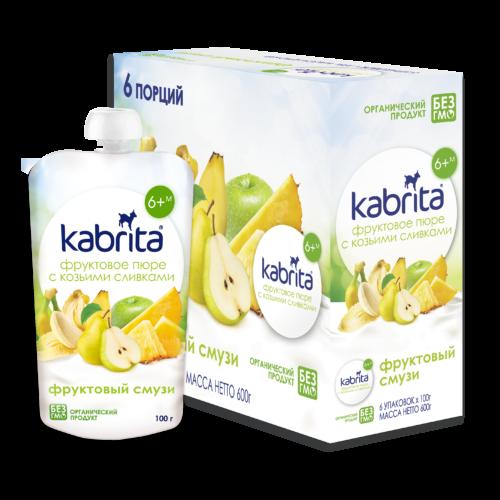 Kabrita® Augļu biezenis Augļu Smūtijs ar kazas piena saldo krējumu