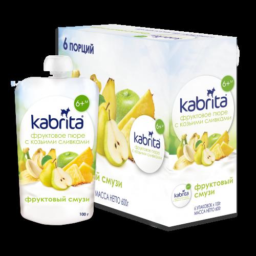 Kabrita® Augļu biezenis Augļu Smūtijs ar kazas piena saldo krējumu 100 g x 6